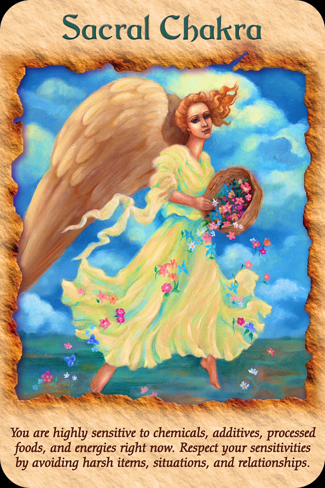 Sacral Chakra, from the Healing With The Angels Oracle Card deck, by Doreen Virtue, Ph.D