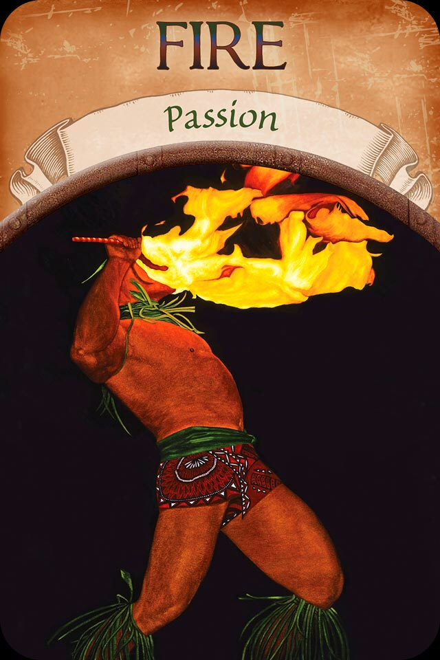 Fire ~ Passion, from the Earth Magic Oracle Card deck, by Stephen D Farmer