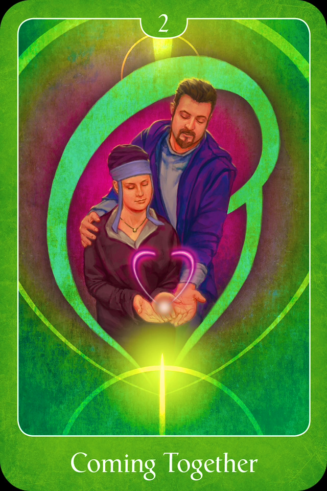 Coming Together, from the Psychic Tarot For The Heart Oracle Card deck,  by John Holland