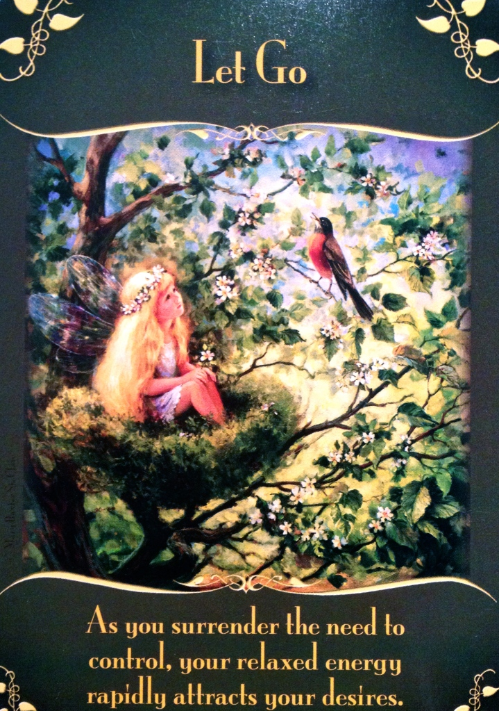 Let Go, from the Magical Messages From the Fairies Oracle Card deck, by Doreen Virtue, Ph.D