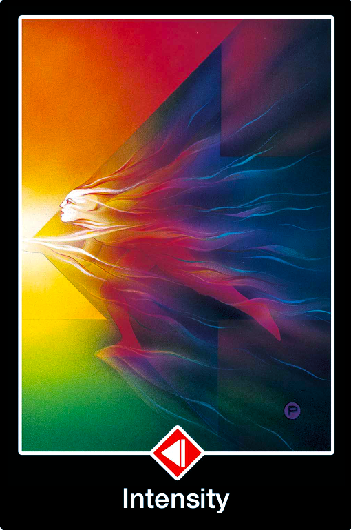 Knight of Fire ~ Intensity, from the Osho Zen Tarot, by Osho, illustrated by Ma Deva Padma