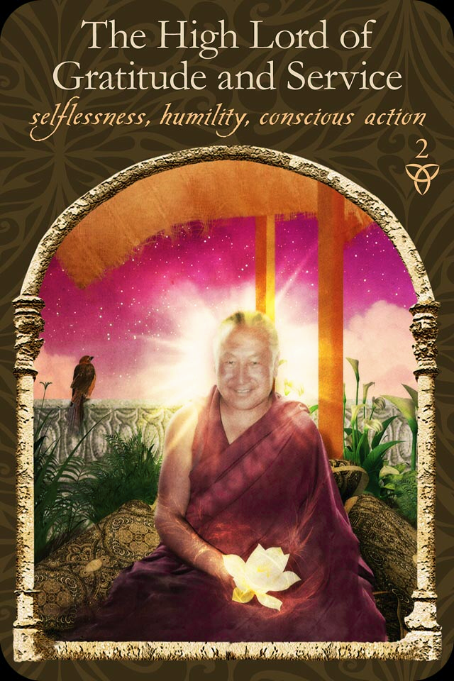 The High Lord Of Gratitude and Service, from the Wisdom Of The Hidden Realm Oracle Card deck, by Colette Baron-Reid