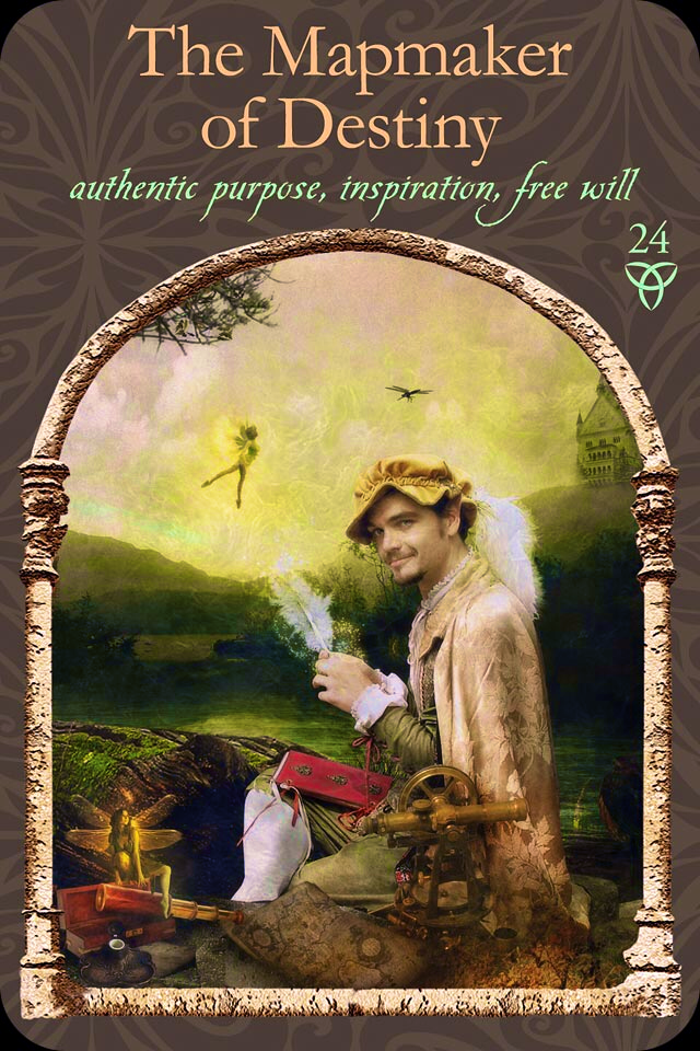 The Mapmaker Of Destiny, from the Wisdom Of The Hidden Realm Oracle Card deck, by Colette Baron-Reid