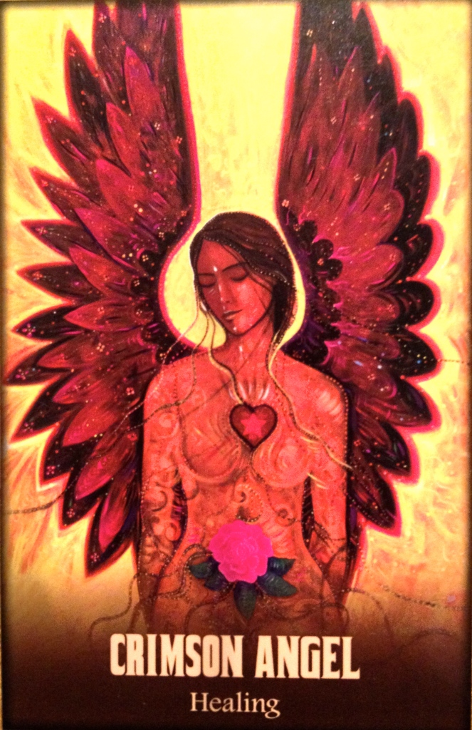 Crimson Angel, from the Blue Angel Oracle Card deck, by Toni Carmine Salerno