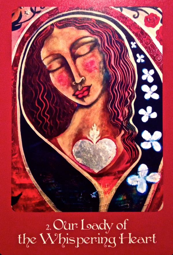 Lady Of The Whispering Heart, from the Mother Mary Oracle Card deck, by Alana Fairchild