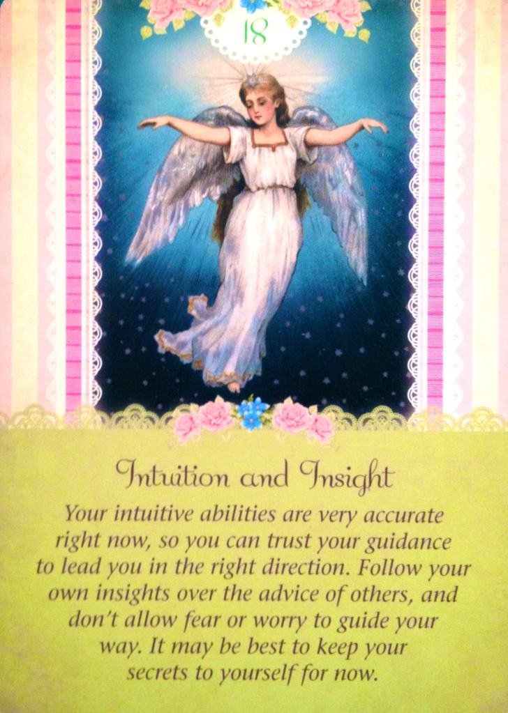 Intuition and Insight, from the Guardian Angel Oracle Card deck, by Doreen Virtue Ph.D and Radleigh Valentine