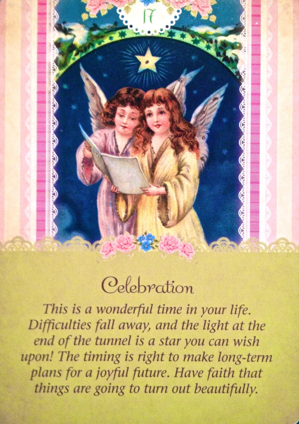 Celebration, from the Guardian Angel Oracle Card deck, by Doreen Virtue Ph.D and Radleigh Valentine