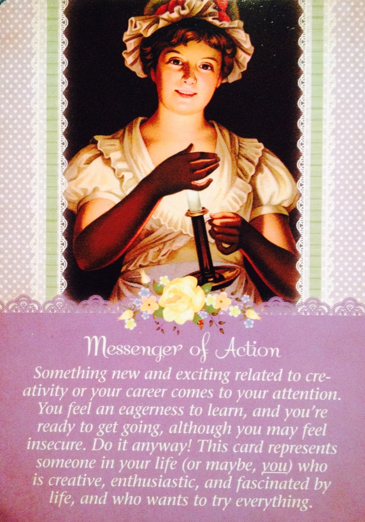 Messenger Of Action, from the Guardian Angel Tarot Card deck, by Doreen Virtue Ph.D and Radleigh Valentine