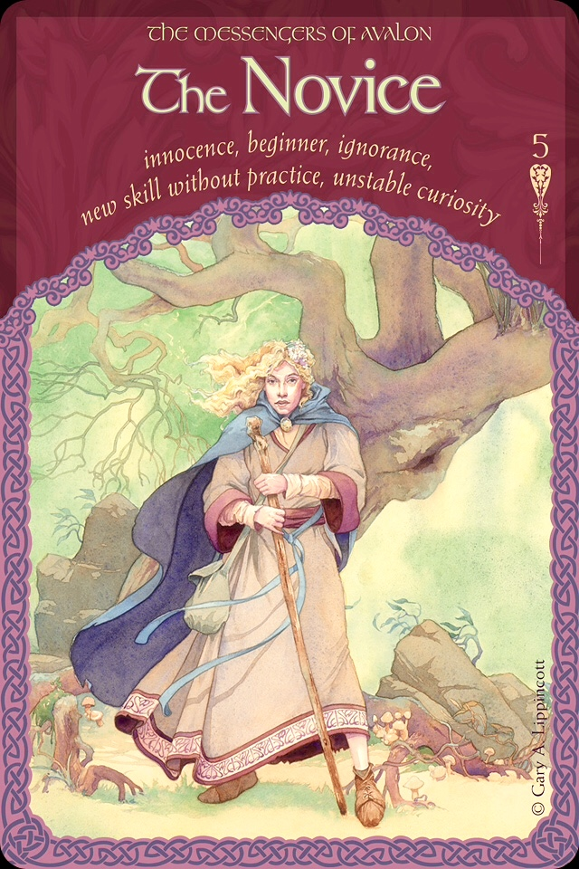 The Novice Of Avalon, from the Wisdom Of Avalon Oracle Card deck, by Colette Baron-Reid