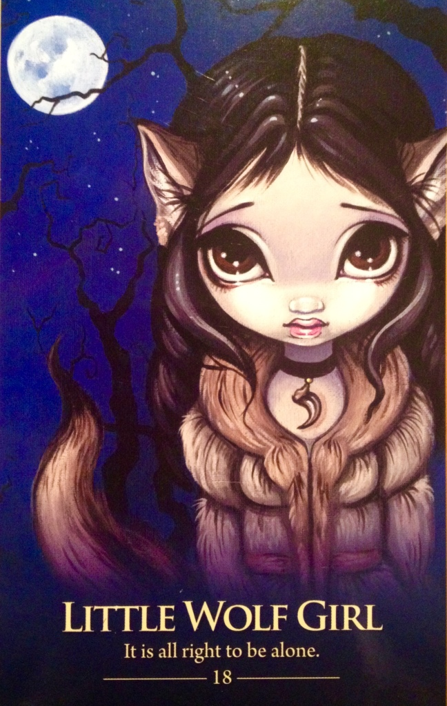 Little Wolf Girl, from the Oracle Of The Shapeshifters Oracle Card deck, by Lucy Cavendish