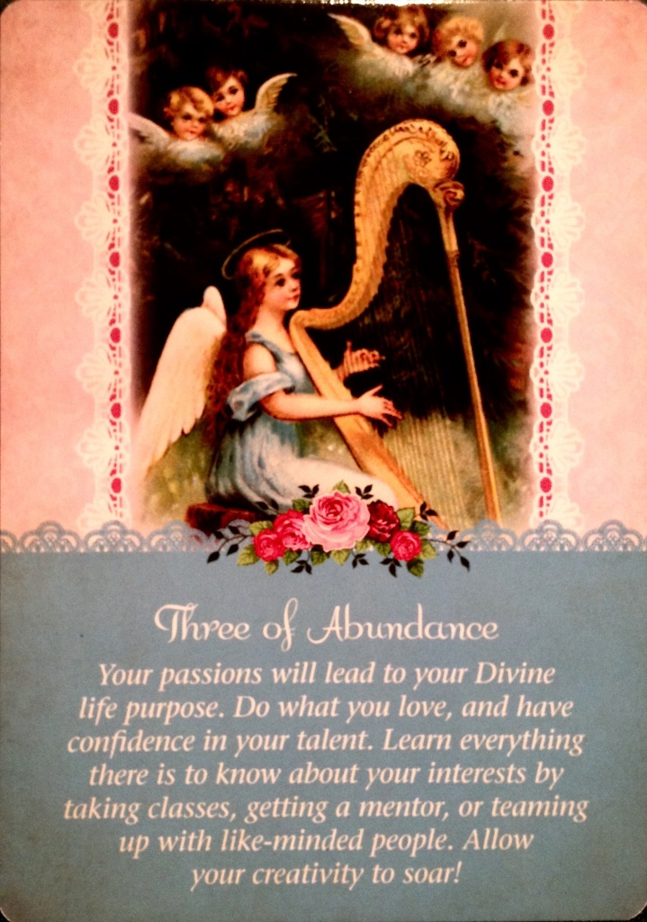 Three Of Abundance, from the Guardian Angel Oracle Card deck, by Doreen Virtue Ph.D and Radleigh Valentine