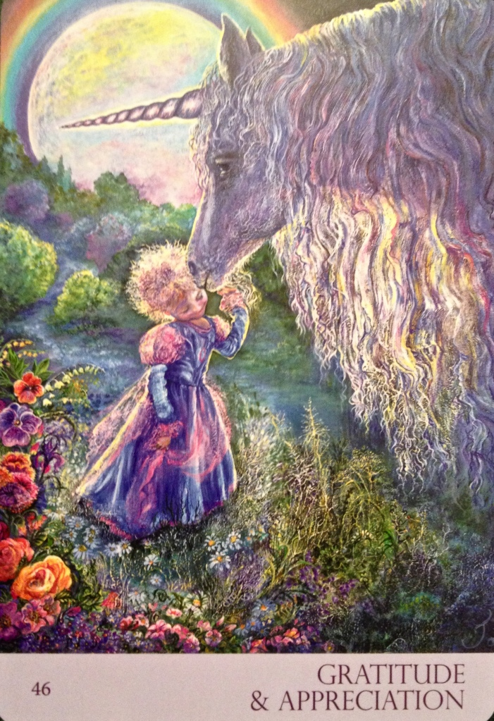 Gratitude and Appreciation, from the Nature's Whispers Oracle Card deck, by Angela Heartfield and Josephine Wall