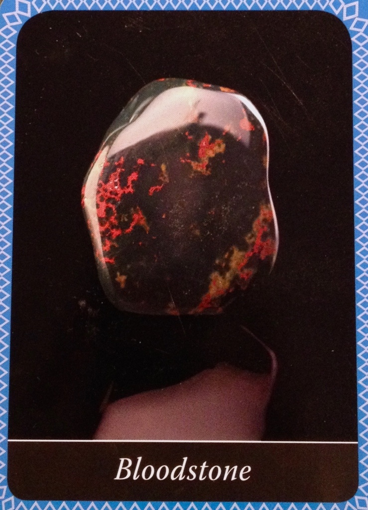Bloodstone, from the Crystal Wisdom Oracle Card deck, by Judy Hall