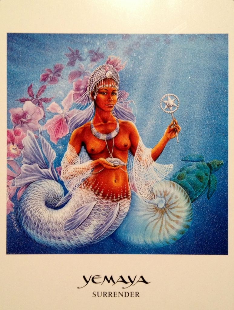 Yemaya ~ Surrender, from the Goddess Oracle Card deck, by Sophia Marashinsky artwork by Hrana Janto