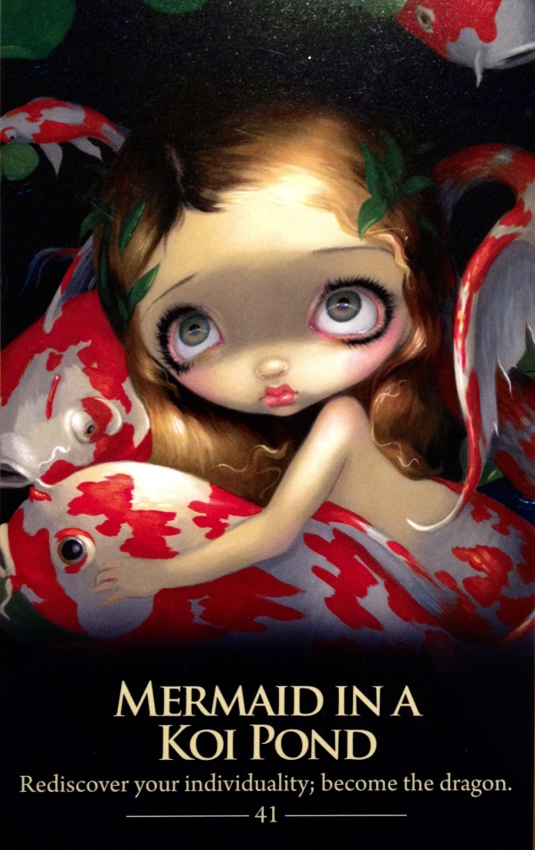 Mermaid In A Koi Pond, from the Shapeshifters Oracle Card deck, by Lucy Cavendish, artwork by Jasmine Becket-Griffith