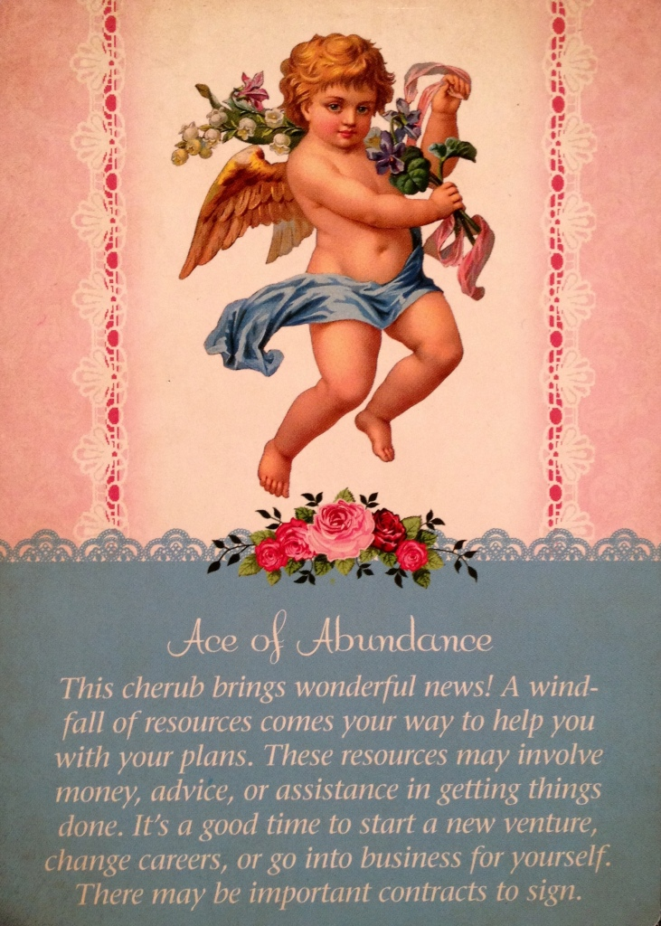 Ace Of Abundance, from the Guardian Angel Oracle Card deck, by Doreen Virtue Ph.D and Radleigh Valentine