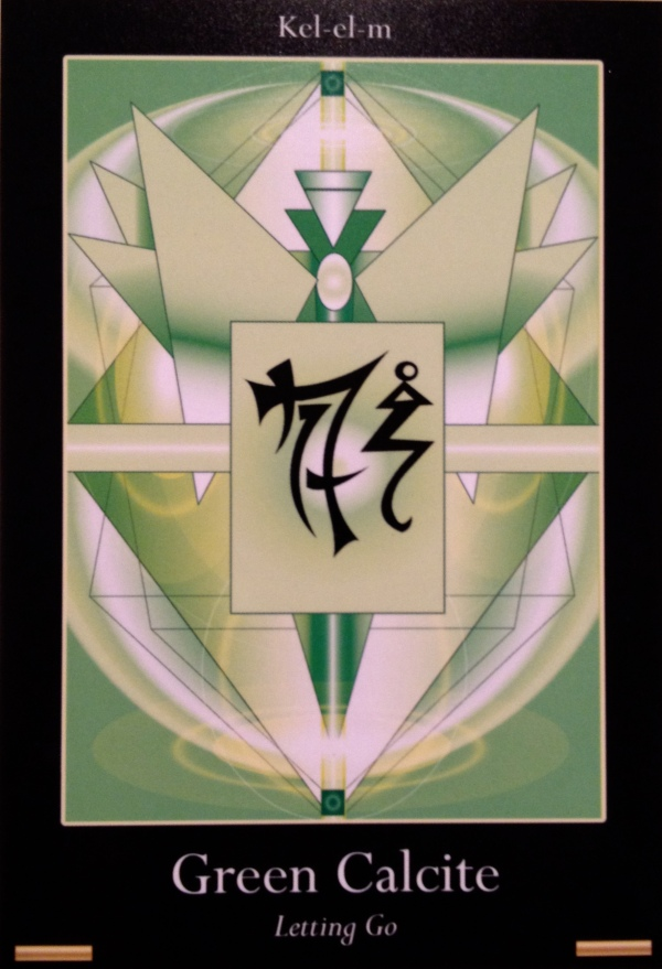 Green Calcite, from the Liquid Crystal Oracle Card deck, by Justin Moikeha Asar