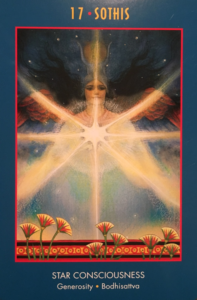 Sothis ~ Star Consciousness, from the Anubis Oracle Card deck, by Nicki Scully and Linda Star Wolf Illustrated by Kris Waldherr