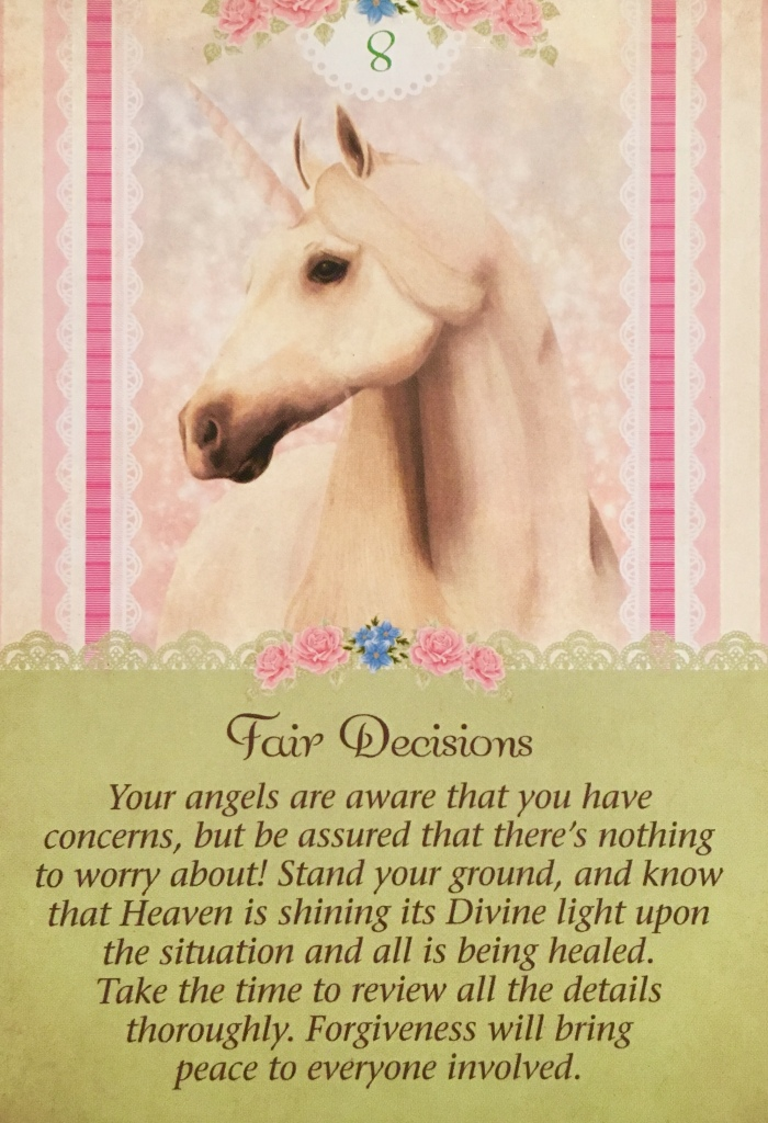 Fair Decisions, from the Angel Therapy Tarot Card deck, by Doreen Virtue Ph.D and Radleigh Valentine