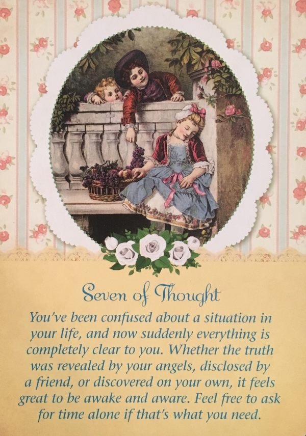 Seven Of Thought, from the Guardian Angel Tarot Card deck, by Doreen Virtue Ph.D and Radleigh Valentine