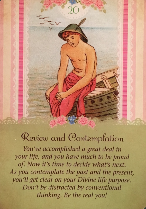 Review and Contemplation, from the Guardian Angel Tarot Card deck, by Doreen Virtue Ph.D and Radleigh Valentine