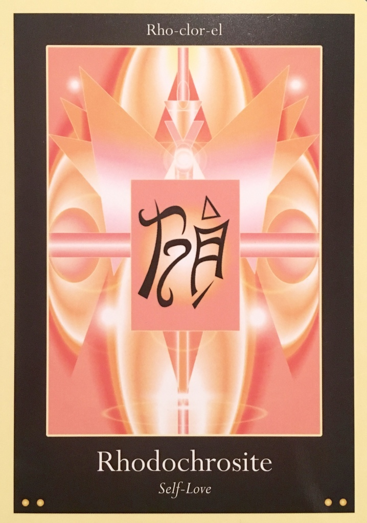 Rhodochrosite, from the Liquid Crystal Oracle Card deck, by Justin Moikeha Asar