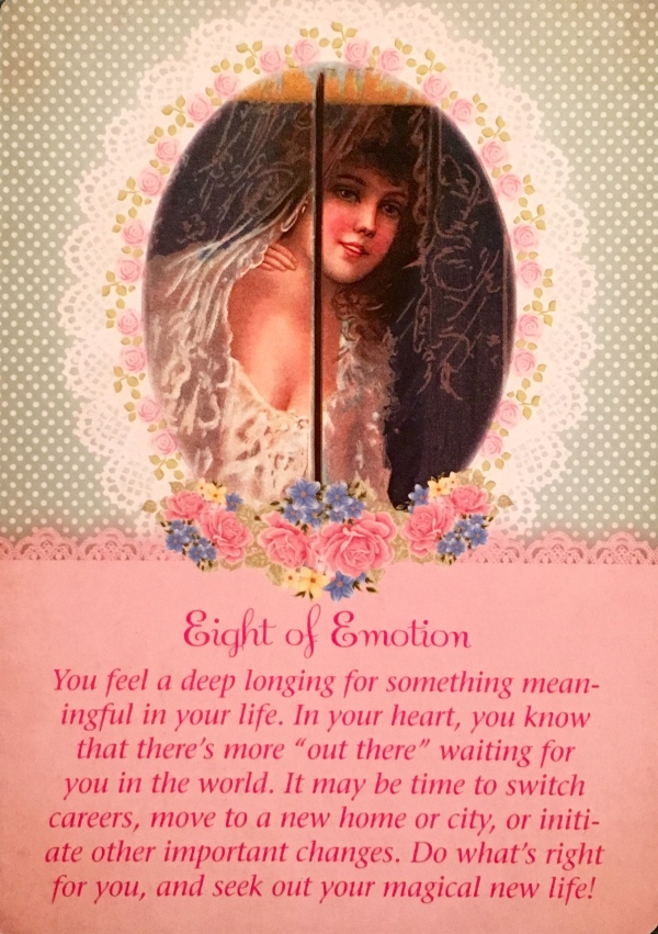 Eight Of Emotion, from the Guardian Angel Oracle Card deck, by Doreen Virtue Ph.D and Radleigh Valentine