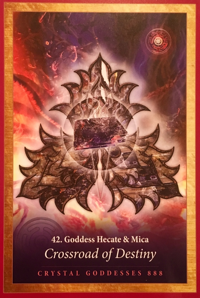 Goddess Hecate and Mica, from the Crystal Mandala Oracle Card deck, Channel The Power of Heaven And Earth, by Alana Fairchild