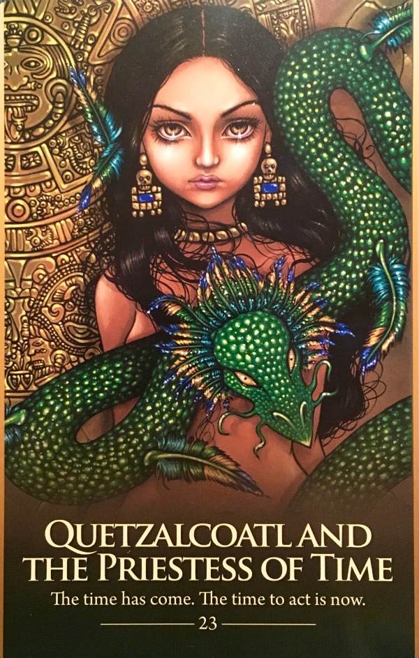 Quetazcoatl And The Priestess Of Time, from the Oracle Of The Shapeshifters, by Lucy Cavendish, Artwork by Jasmine Becket-Griffith