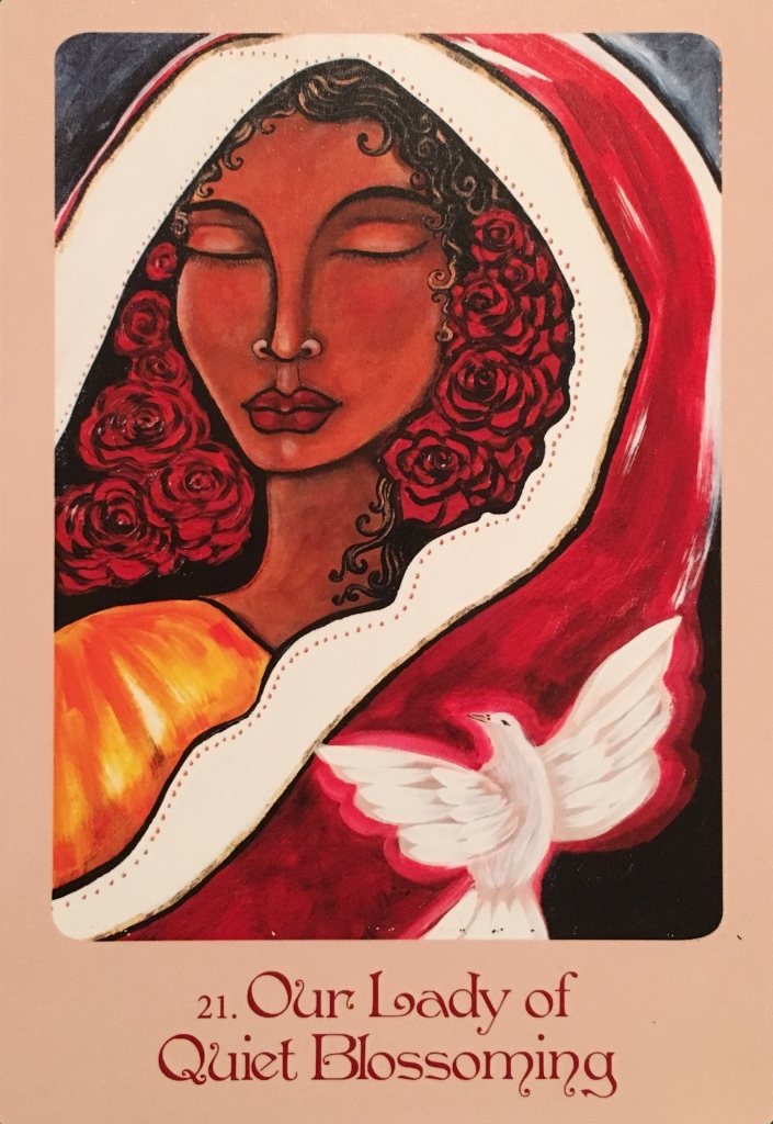 Our Lady Of Quiet Blossoming, from the Mother Mary Oracle Card deck, by Alana Fairchild, Artwork by Shiloh Sophia McCloud
