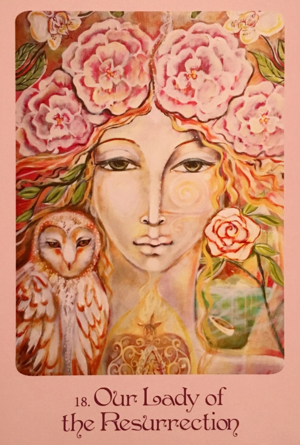 Our Lady Of The Resurrection, from the Mother Mary Oracle Card deck, by Alana Fairchild, Artwork by Shiloh Sophia McCloud