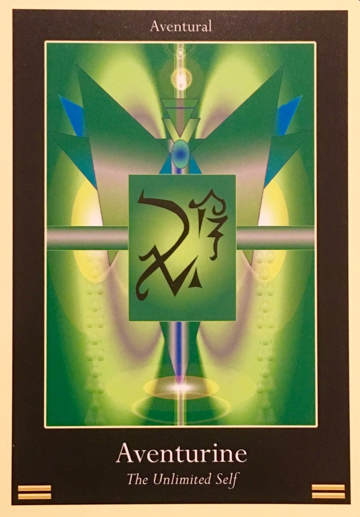Aventurine, from the Liquid Crystal Oracle Card deck, by Justin Moikeha Asar