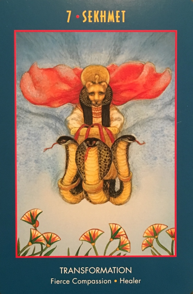 Sekhmet ~ Transformation, from the Anubis Oracle Card deck, by Nicki Skully And Linda Star Wolf, Illustrated by Kris Waldherr