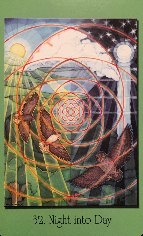 Night Into Day ~ Graceful Transitions, from the Sacred Geometry Cards For The Visionary Path, by Francene Hart