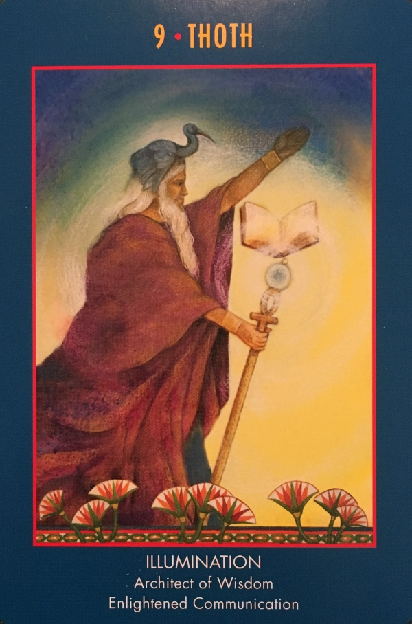 Thoth ~ Illumination, from The Anubis Oracle Card deck, by Nicki Skully and Linda Star Wolf, illustrated by Kris Waldherr