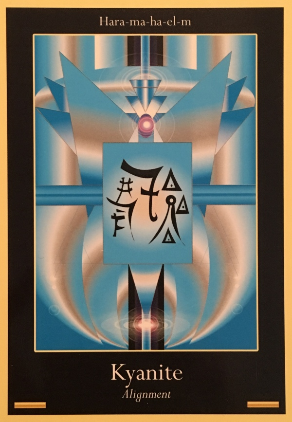 Kyanite ~ Alignment, from the Liquid Crystal Oracle Card deck, by Justin Moikeha Asar
