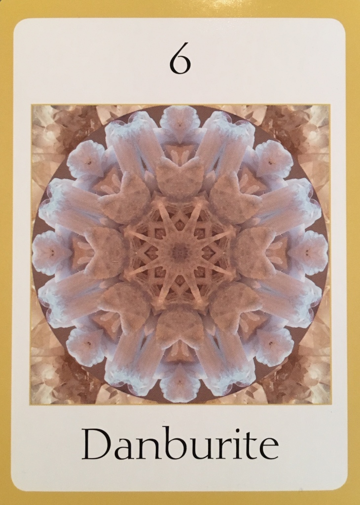 Danburite, from the Crystal Oversoul Attunements Oracle Card deck, by Michael Eastwood
