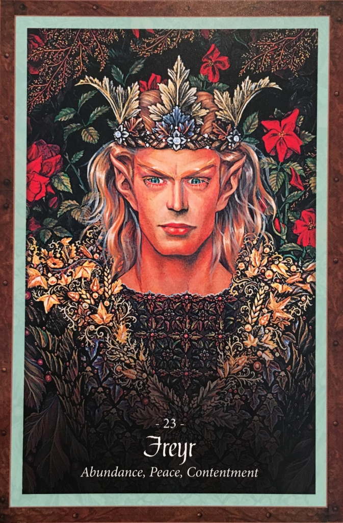 Freyr, from The Faery Forest Oracle Card deck, by Lucy Cavendish, artwork by Maxine Gadd
