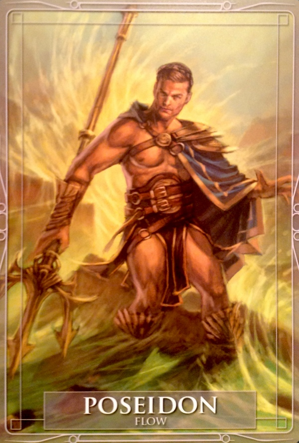 Poseidon, from the Gods and Titans Oracle Card deck, by Stacey Demarco, artwork by Jimmy Manton