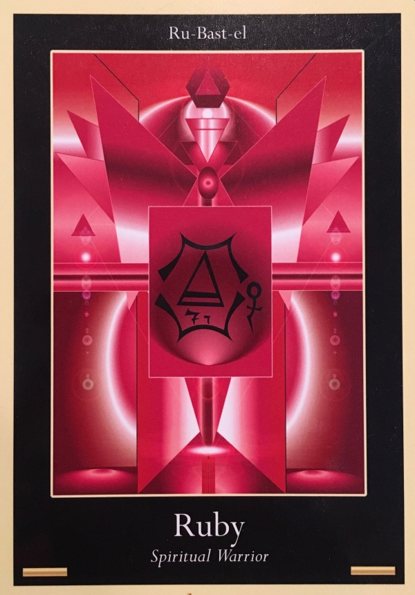 Ruby, from the Liquid Crystal Oracle Card deck, by Justin Moikeha Asar