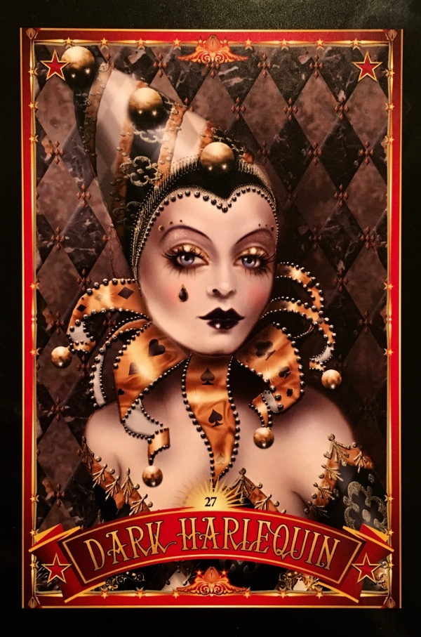 Dark Harlequin, from the Divine Circus Oracle Card deck, by Alana Fairchild