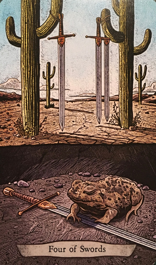 Four Of Swords ~ Zombie Toad, from the Animal Totem Tarot Card deck, by Leeza Robertson, Artwork by Eugene Smith