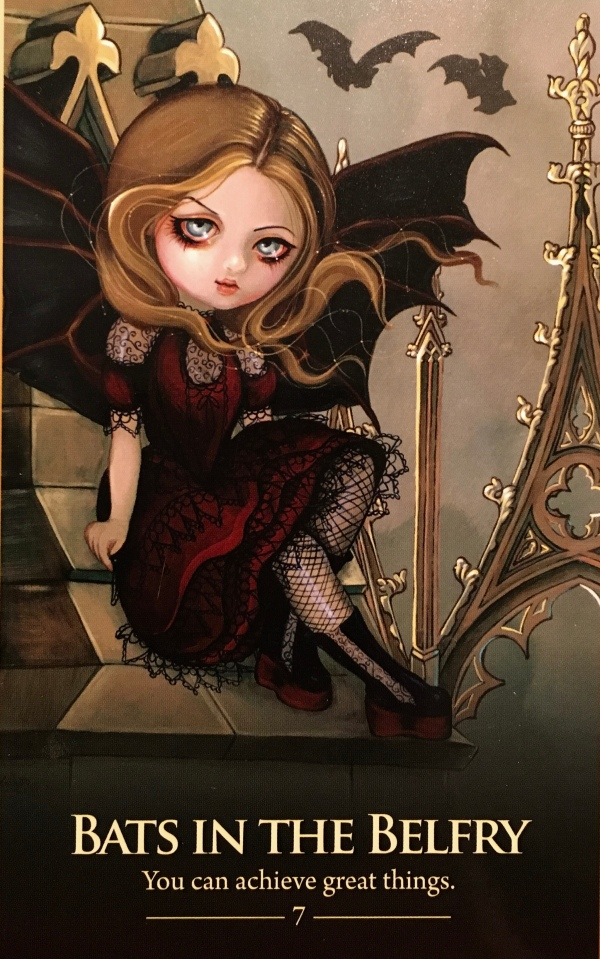 Bats In The Belfry, from the Oracle Of The Shapeshifters card deck, by Lucy Cavendish, artwork by Jasmine Becket-Griffith