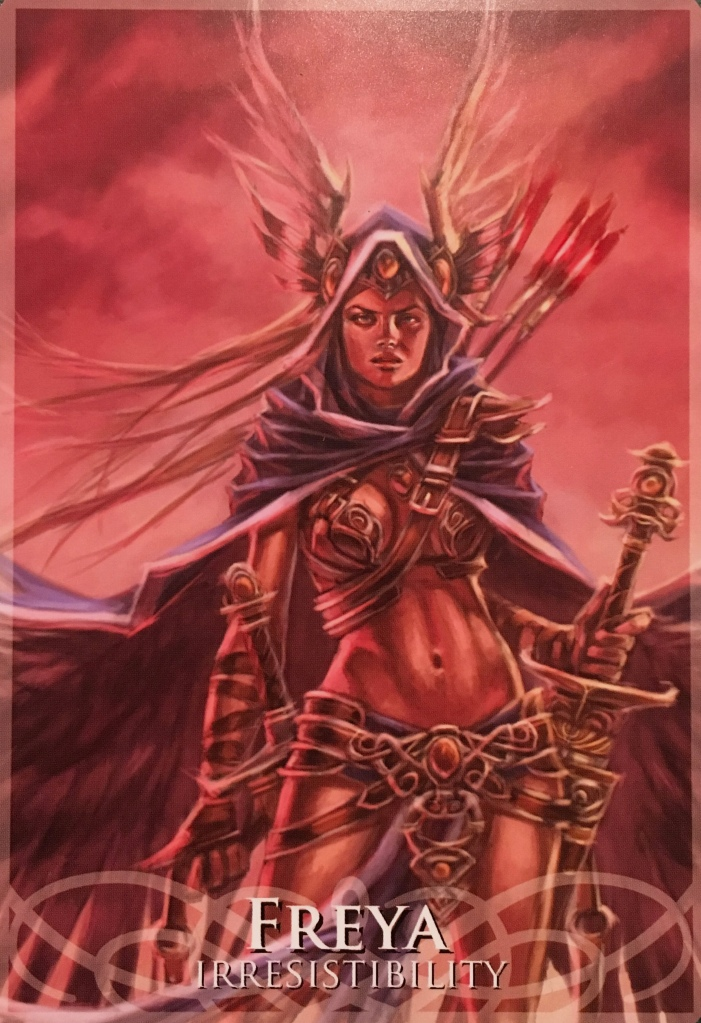 Freya ~ Irresistibility, from the Goddesses and Sirens Oracle Card deck, by Stacey Demarco, artwork by Jimmy Manton