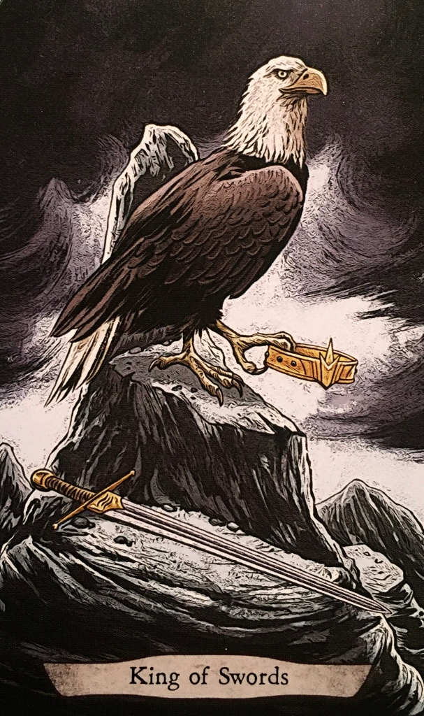King Of Swords ~ Eagle, from the Animal Totem Tarot Card deck, by Leeza Robertson, Illustrated by Eugene Smith
