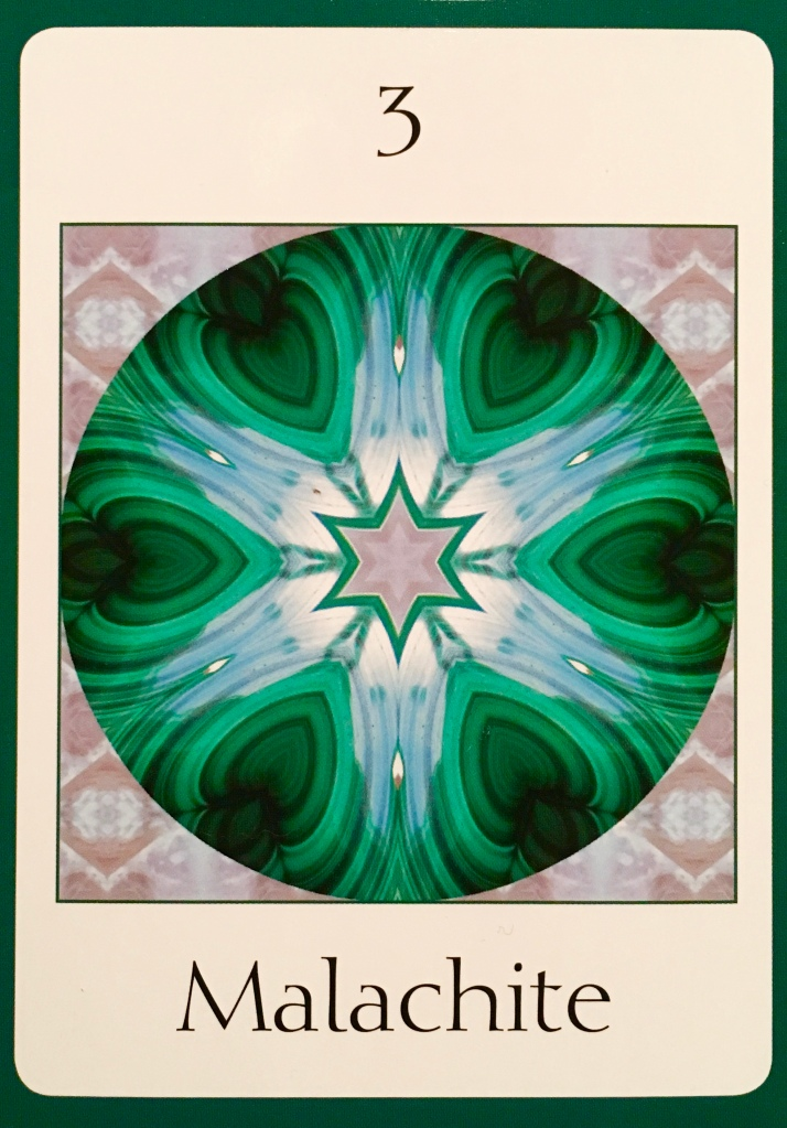Malachite, from the Crystal Oversoul Attunements Oracle Card deck, by Michael Eastwood
