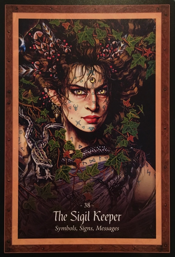 The Sigil Keeper, From The Faery Forest Oracle Card deck, by Lucy Cavendish, Artwork by Maxine Gadd