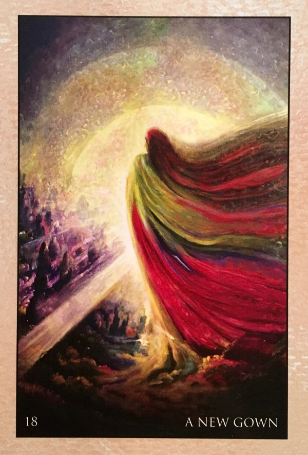A New Gown, from the RUMI Oracle Card deck, by Alana Fairchild, Artwork by Rassouli