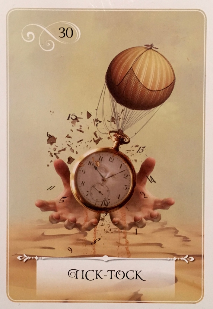 Tick-Tock, from the Wisdom Of The Oracle card deck, by Colette Baron-Reid, Artwork by Jena DellaGrottaglia
