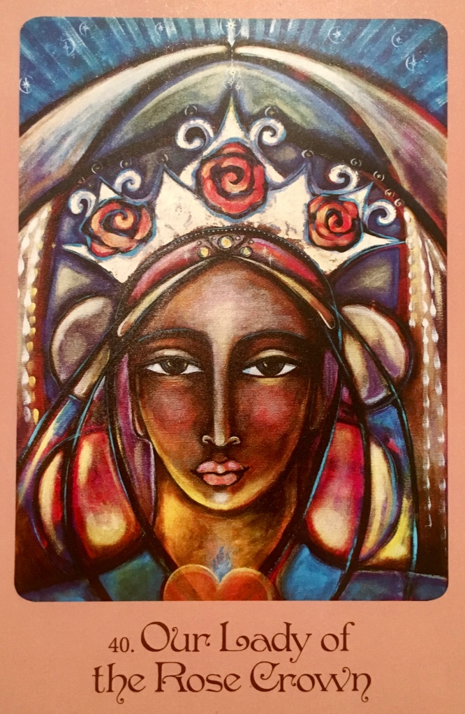 Our Lady Of The Rose Crown, from the Mother Mary Oracle Card deck, by Alana Fairchild, Artwork by Shiloh Sophia McCloud